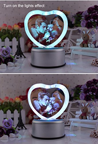 LIWUYOU Personalized Custom Photo and Text Colorful Romantic Crystal Music Box, Engrave You're my only love, Heart Couple, Bluetooth base by LIWUYOU (Image #9)