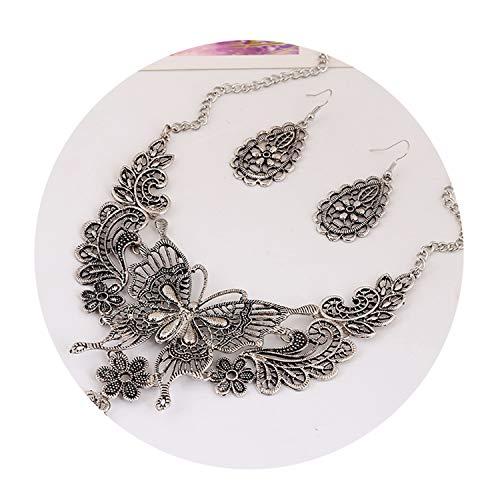 (Best Gifts Vintage Hollow Butterfly Choker Statement Necklace Women 2Colors Zinc Alloy Necklaces Pendants Tr)