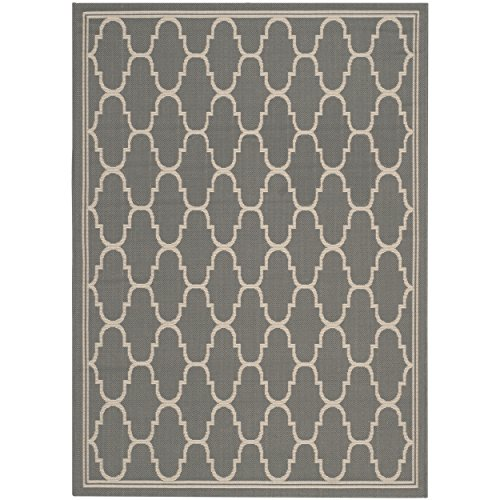 Safavieh Courtyard Collection CY6016-246 Anthracite and Beige Indoor/Outdoor Area Rug (5'3