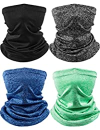 4 Pieces Kids Neck Gaiter Unisex Face Cover Scarf UV Protection Bandana Balaclavas for Summer (Black, Grey, Blue, Green)