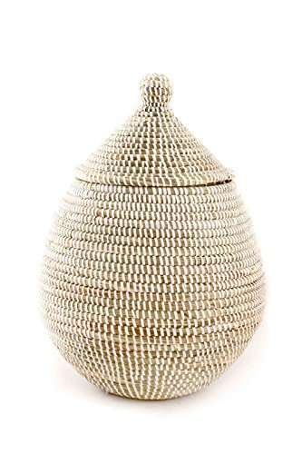 African Fair Trade Hand Woven Lidded Gourd Basket, (Gourd Basket)