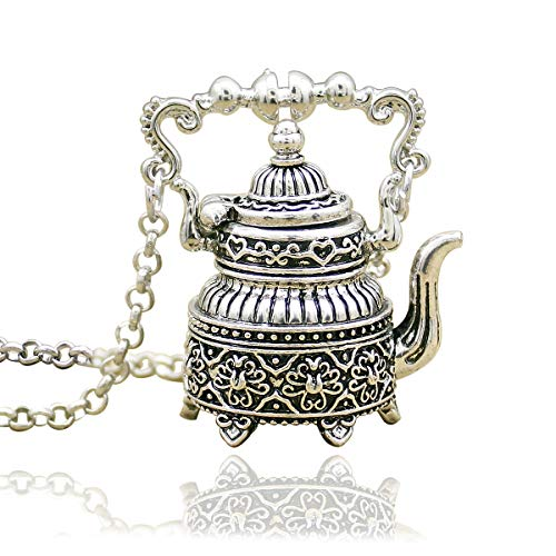 (RechicGu Vintage Silver Victorian Alice in Wonderland Etched 3D Tea Pot Party Steampunk Pendant)