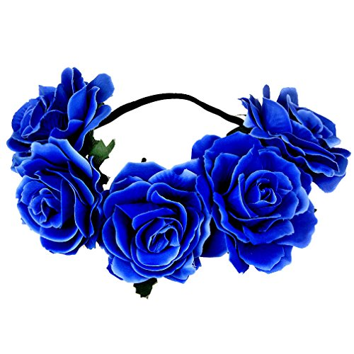Women's Hawaiian Stretch Rose Flower Headband Floral Crown for Garland Party Wedding Headpiece (royal blue) - Flower Headpiece Costume