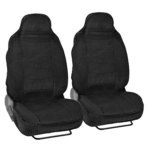 BDK Black Car Seat Covers 2pc Checkered Cloth Scottsdale style Premium High Back