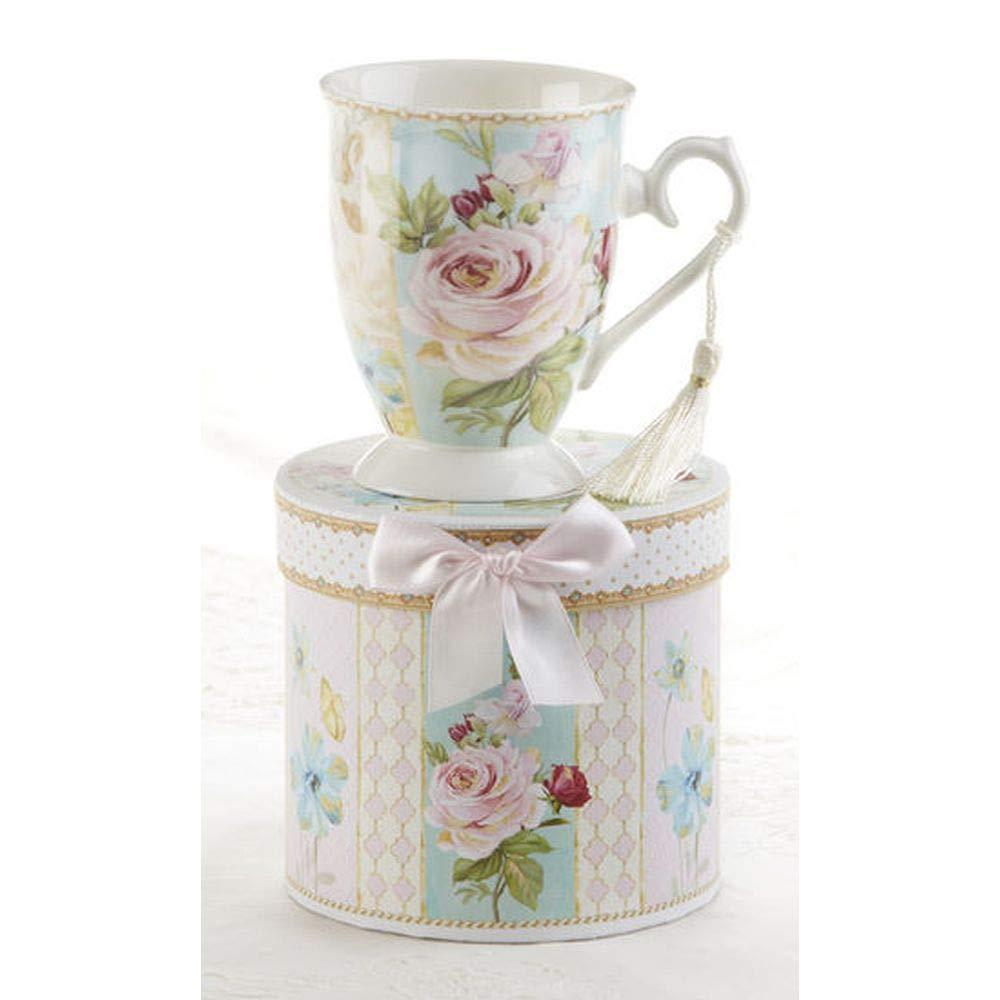 Delton 4.6 Porcelain Mug//Gift Box Green Pink Rose 8139-0
