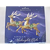 Hallmark Keepsake Ornament Santa's Midnight Ride Two for the Skies Reindeer with Green Harnesses and Tack 2005 QP1755