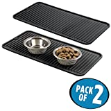 mDesign Premium Quality Pet Food and Water Bowl Feeding Mat for Dogs and Puppies - Waterproof Non-Slip Durable Silicone Placemat - Food Safe, Non-Toxic - Pack of 2, Black