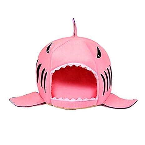 XSQRGG Cama Suave De Perros En Forma De Tiburón Casa De Mascotas con Cojín Extraíble Inferior