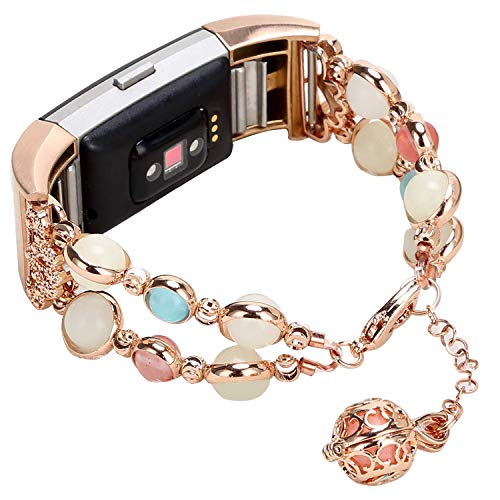 IMYMAX for Fitbit Charge 2 Bands Straps for Women Adjustable Wristband Handmade Night Luminous Pearl with Storage Pendant for Fitbit Charge 2 Smart Watch/Girls (Rose Pink)