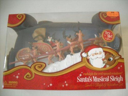d Reindeer Santa's Musical Sleigh and Reindeer Set (Red Santa Sleigh)