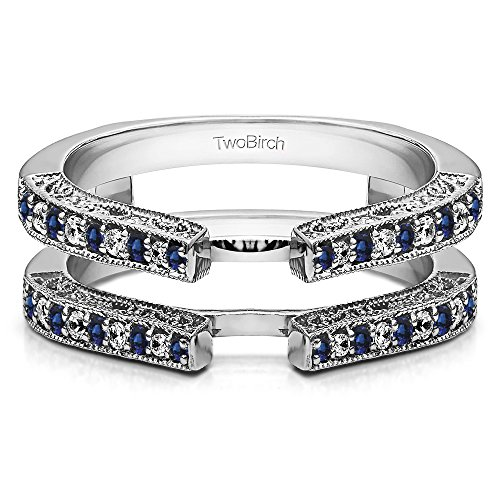 TwoBirch 0.29 ct. Diamonds and Sapphire Cathedral Style Ring Guard with Millgrained Edges and Filigree Design in Silver (1/3 ct. twt.) (& Filigree Diamond Ring Sapphire)