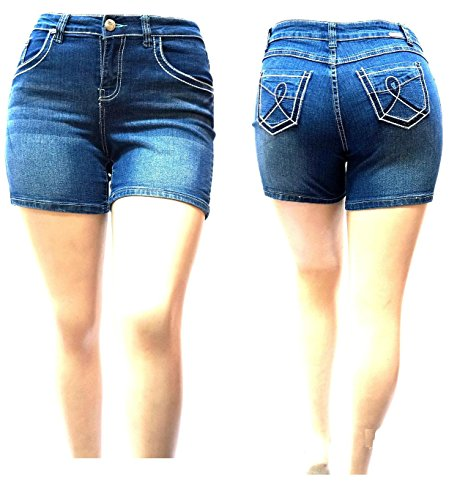 XBZ Women's Plus Size Blue Denim Jeans Shorts Stretch Premium (Plus Denim Shorts)