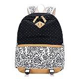 ShiningLove Student Floral Canvas Backpack Shoulder Bag Laptop Bag Schoolbag Rucksack Black