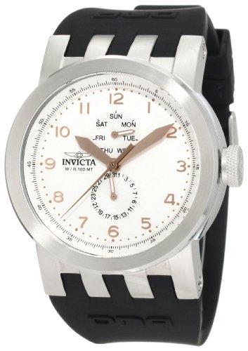White Dial Black Silicone - Invicta Men's 10387 DNA Vintage White Dial Black Silicone Watch
