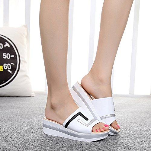 Con Zapatillas Del Con Gruesas Zapatos Arrastre Blanco Spring Mujeres Hill OME Código amp;QIUMEI Y Fuera Verano 1tzUqT