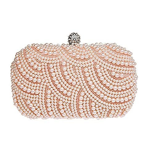 Albabara Womens Satin Beaded Evening Bag Handmade Party Clutch Pearl Evening Bags, Champagne - Clutch Lever Adjustment