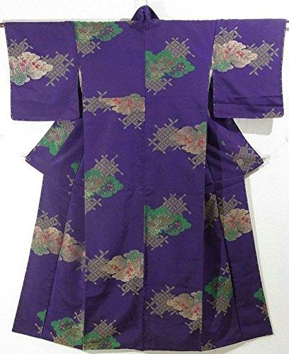 嬉しいです意欲洗練リサイクル 着物 お召 袷 正絹 縫い取り 雲文に七宝や花々 裄64cm 身丈157cm