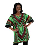 African Traditional Unisex Heart of Africa Dashiki, One Size (Lime)
