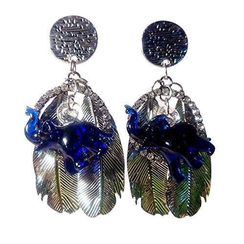 Circus Supplies Melbourne (Sansukjai Earring Blue Tiny Elephant Figurines Hand Blown Glass Art, Leaf Stainless-Steel, Boho Earring, Boho Jewelry, Gift Long 2 1/2