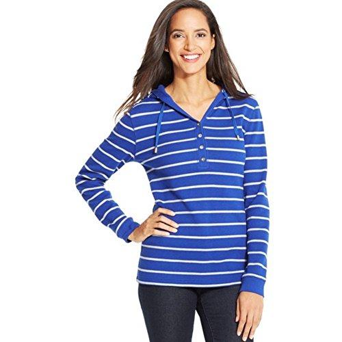 Charter Club Striped Waffle-knit Hoodie, Blue Regalia Combo, Xs