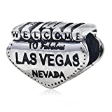 Welcome to Las Vegas Charm 925 Sterling Silver Charm Nevada Charm Travel Charm for Pandoar Bracelet