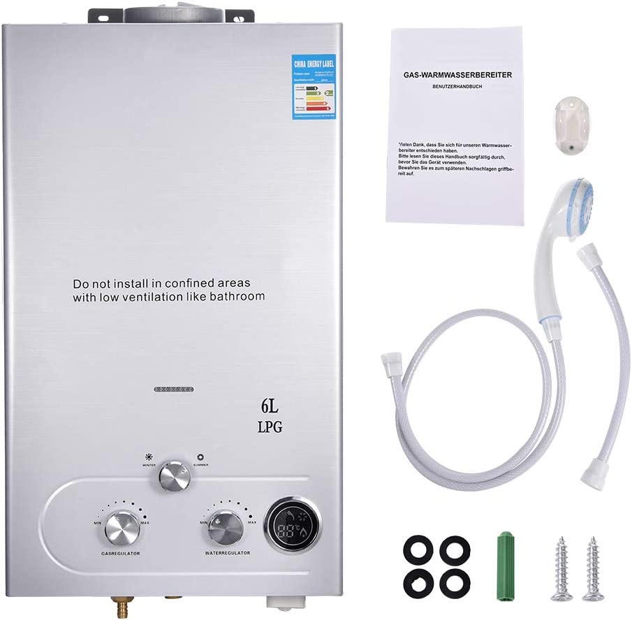 Propan-Gas-Durchlauferhitzer LPG Tankless Warmwasserbereiter Wandmontage, LCD Temperaturanzeige mit Duschkopf für Camping, Wohnmobil, Wohnwagen…