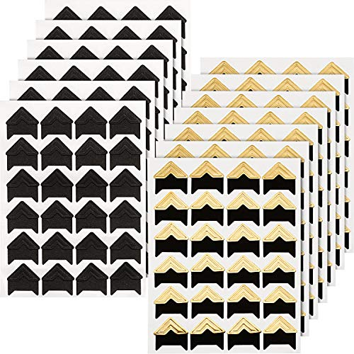Gold Self Adhesive Photo Corners - Hotop 312 Pieces Photo Corners Self Adhesive for DIY Scrapbook, Picture Album, Personal Journal, Dairy More (Gold and Black)