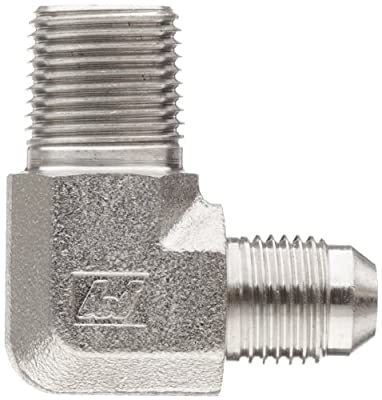 Brennan 2501-SS Series, Stainless Steel JIC Tube Fitting, MJ-MP 90 Degree Elbow, Tube OD x NPTF Male