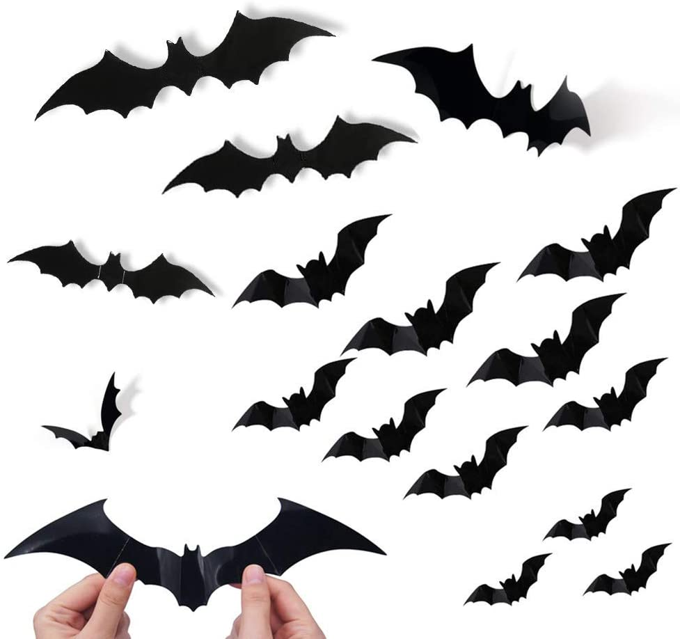 YSZJH Halloween 3D Bats Decoration Halloween Party Supplies PVC 3D Decorative Scary Bats Wall Sticker Wall Decal, Halloween Eve Decor Home Window Decoration Set, 74 pcs, Black (Bats)