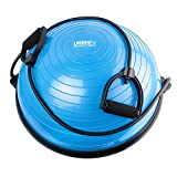 jump board pilates - URBNFit Balance Trainer Half Ball - Includes Bands for Resistance Workouts, Yoga, Gym, Training, Rehab - Bonus Fitness Workout Guide