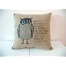 Nelipo Cotton Linen Owl Sayings 43cm X 43cm Square Decorative Throw Pillow Cover Cushion Case Pillow Protector Pillowcase