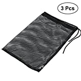 VORCOOL 3pcs Black Durable Mesh Nets Bags Pouch Golf Tennis Ball Carrying Holder Storage Drawstring Closure Bag Not Included Balls(Large Size Could Carry 50pcs Balls)