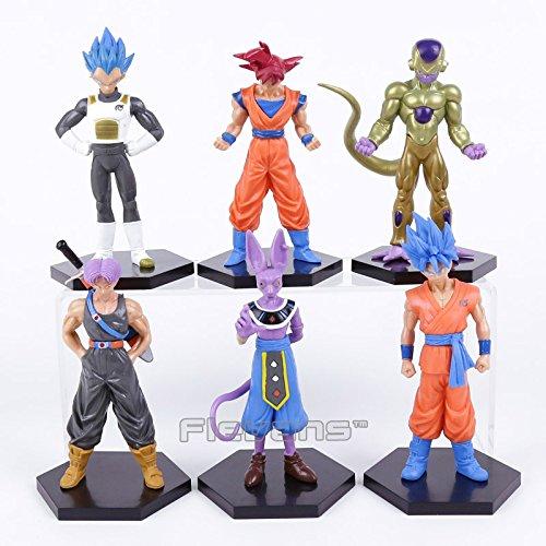 Dragon Ball Z Son Goku Vegeta Beerus Freeza Trunks PVC Figures Collectible Model Toys 6pcs/set 13~15cm