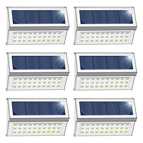 DBF Solar Deck Lights, 30 LED Solar Step Lights Outdoor Auto On/Off Stainless Steel Waterproof Solar Powered Wall Light for Patio Stairs Fence Post Walkway 6 Pack(Cool White)