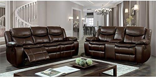 Furniture of America Calvin Faux Leather Recliner Loveseat