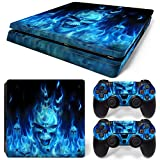 CSBC Skins Sony PS4 Slim Design Foils Faceplate Set - Blue Skull Design
