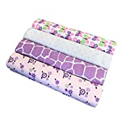 "effe bebe 100% Cotton Flannel Receiving Blanket 30""x40"" Purple Butterfly (4PK)"