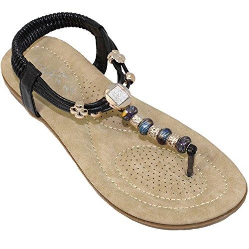 Fantasia Boutique JLH879 Murana Ladies Jewelled Padded Elastic Toe Post Thong Beaded Sandal Black jDIzU5k