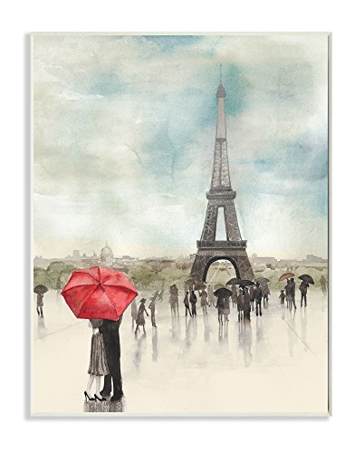Stupell Home Décor Rainy Day Lovers in Paris Wall Plaque Art, 10 x 0.5 x 15, Proudly Made in USA (Barn Decorations Pottery)