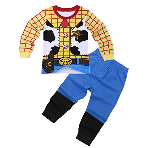 dPois Kids Boys Girls' Cartoon Printed Two-Pieces Pajamas Outfit Cotton Long Sleeves Tops with Pants Nightwear Sleepwear Yellow 18-24 Months