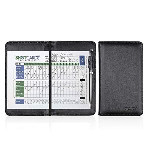 ONLVAN Golf Scorecard Holder Leather Yardage Book Cover with Pen Pocket Fit Most Back Pocket (Black)