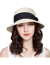 Women UPF50+ Wide Brim Fedora Beach Sun Hat Straw Roll up Cap