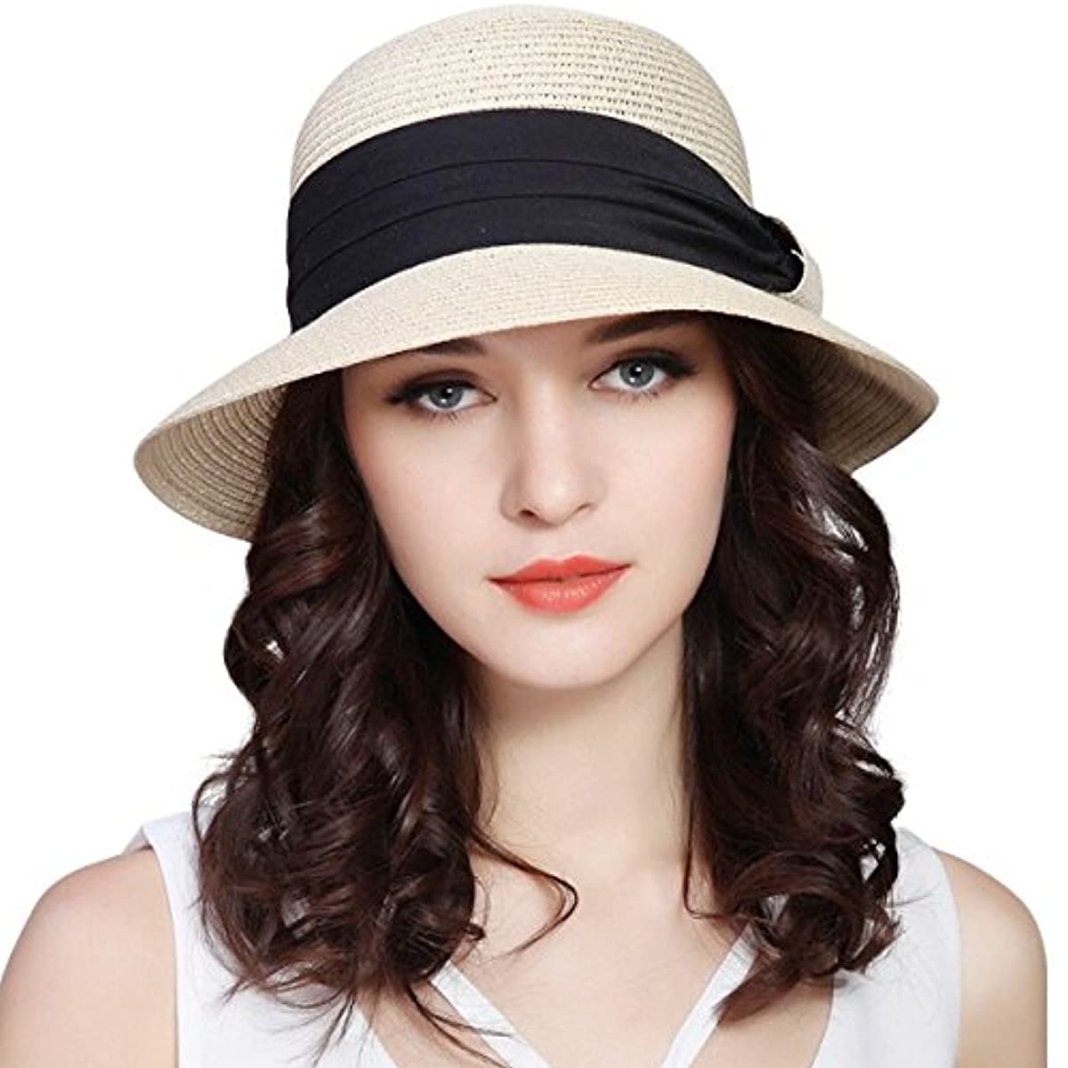 a43cd013 Lanzom Women UPF50+ Wide Brim Fedora Beach Sun Hat Straw Roll up Cap ...