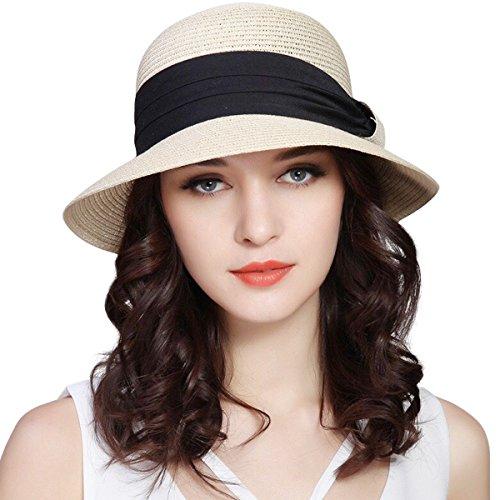 im Straw Foldable Roll up Cap Fedora Beach Sun Hat UPF50+ (Beige) (Panama Sun Hat)