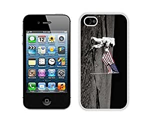 American Astronaut and Flag on the Moon TPU White Phone Case for Iphone 4 Silcon Soft For Iphone 5/5S Cover Cover