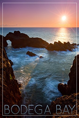 Bodega Bay, California - Rocky Cove and Sunset (9x12 Collectible Art Print, Wall Decor Travel Poster)