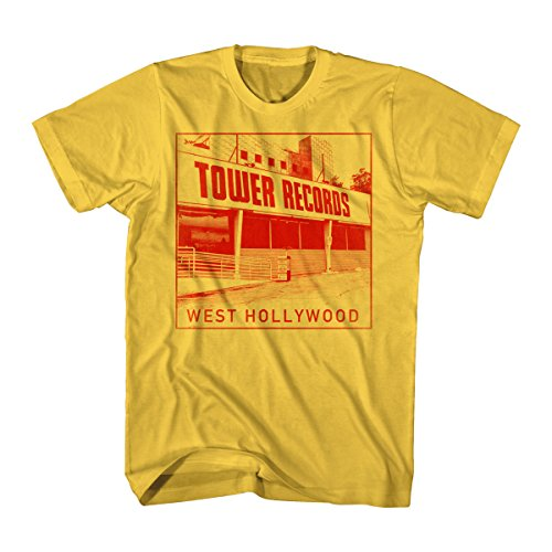 Tower Records Men's Tower Records West Hollywood Graphic T-Shirt, Sunshine, X-Large