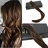 Sunny 16inch Tape in Human Hair Extensions 20pcs 50g Two Tone Color Darkest Brown Highlight with Medium Brown Colorful Balayage Seamless Tape Hair Extensions Review