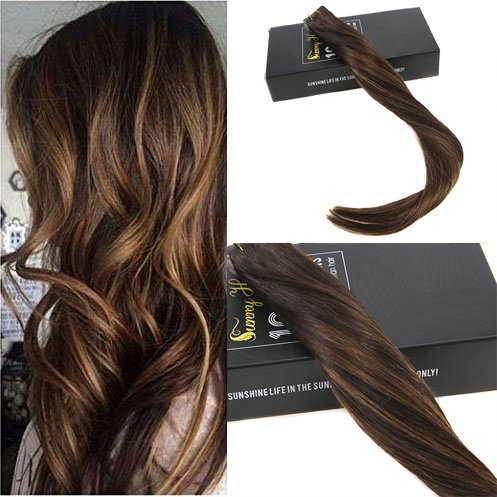 Cheap Sunny 20inch Tape in Human Hair Extensions 20pcs 50g Two Tone Color Darkest Brown Highlight with Medium Brown Colorful Balayage Seamless Tape Hair Extensions