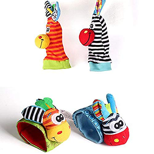 Cartoon Baby Rattle - Pensenion 4 Pcs Baby Rattles Toys Cartoon Animal Bell Socks and Doll Wrist Bands, Soft Cute Plush Rattle with Ring Bell Toy Gift for Infant Boy Girl, Promote Baby's Vision, Hearing and Intelligence